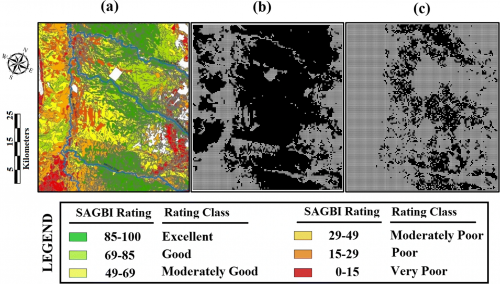 a SAGBI-map of the study area (O'Geen et al. 2015), b suitable locations for winter recharge (excellent, good, and moderately good rating), and c location of alfalfa and almond fields in suitable locations at the last stress period of the simulation