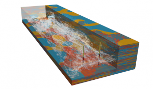 Snapshot of a particle tracking simulation for a NPS contamination of a heterogeneous aquifer